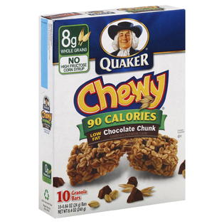 Quaker -Chewy Granola Bars, 90 Calories, Low Fat, Chocolate Chunk, 10 ...