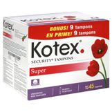 Kotex Security Tampons, Plastic, Super Absorbency, Unscented, 45 tampons at mygofer.com
