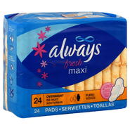 Always Fresh Pads, Maxi, Flexi-Wings, Overnight, Clean Fresh Scent, 24 pads at Kmart.com