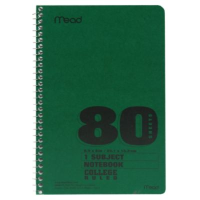 1 Subject Notebook, College Ruled, 801