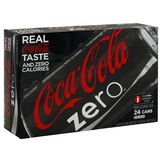 Coca Cola Zero Cola, Calorie Free, 24 - 12 fl oz (355 ml) cans [288 fl oz (8.52 lt)] at mygofer.com