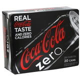 Coca Cola Zero Cola, Zero Calorie, 20 - 12 fl oz (355 ml) cans [240 oz (7.1 lt)] at mygofer.com