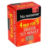 No Nonsense Sheer to Waist Pantyhose, Q, Nude, Sheer Toe, 4 pair at Kmart.com