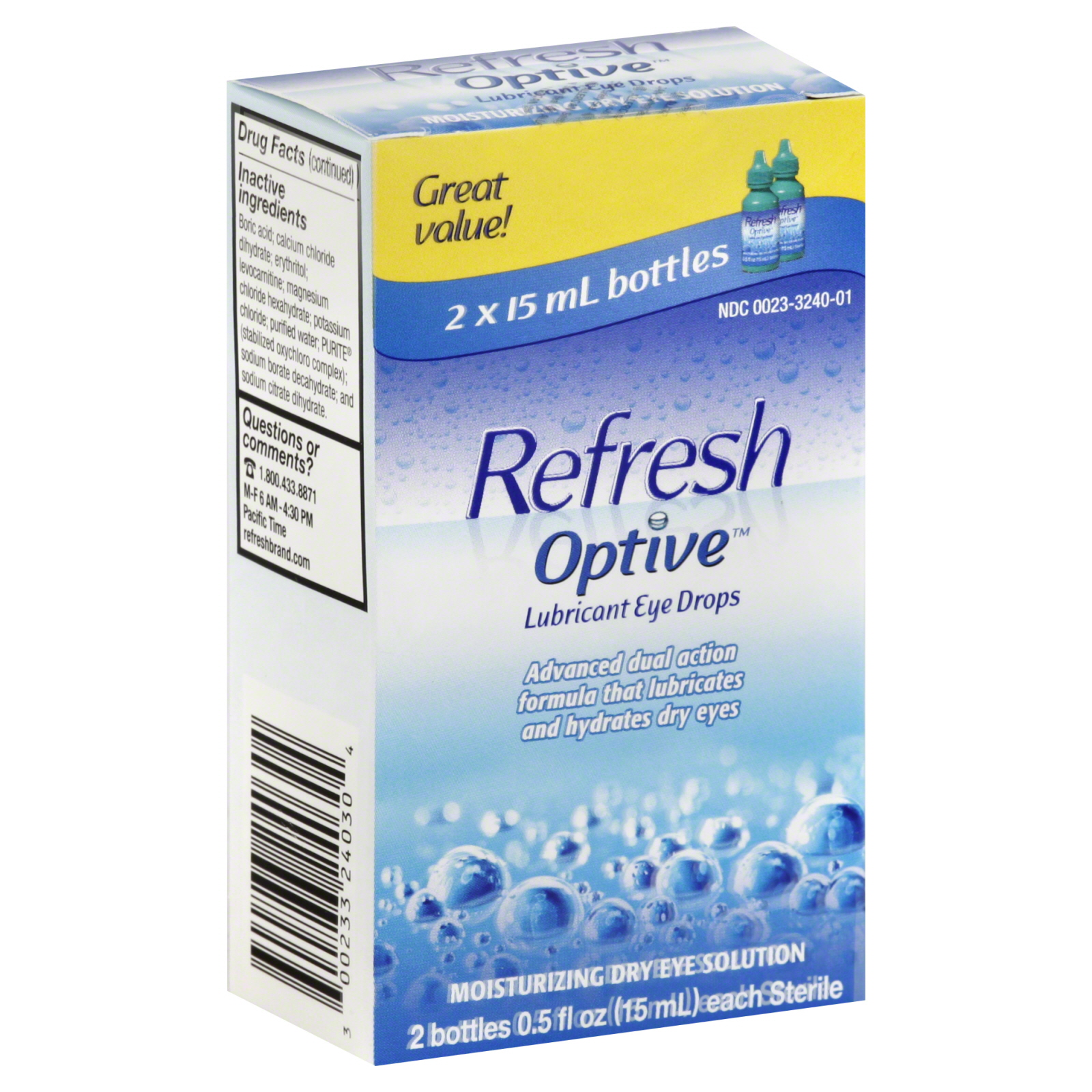 Optive Eye Drops, Lubricant, 2 - 0.5 fl oz