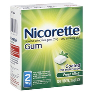 Nicorette Stop Smoking Aid, 2 mg, Gum, Fresh Mint, 100 pieces at Kmart.com