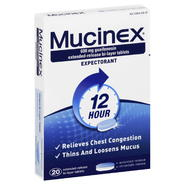 Mucinex Expectorant, 12 Hour, 600 mg, Extended-Release Bi-Layer Tablets, 20 tablets at Kmart.com