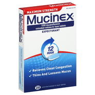 Mucinex Expectorant, 12 Hour, Maximum Strength, 1200 mg, Extended-Release Bi-Layer Tablets, 28 tablets at Kmart.com