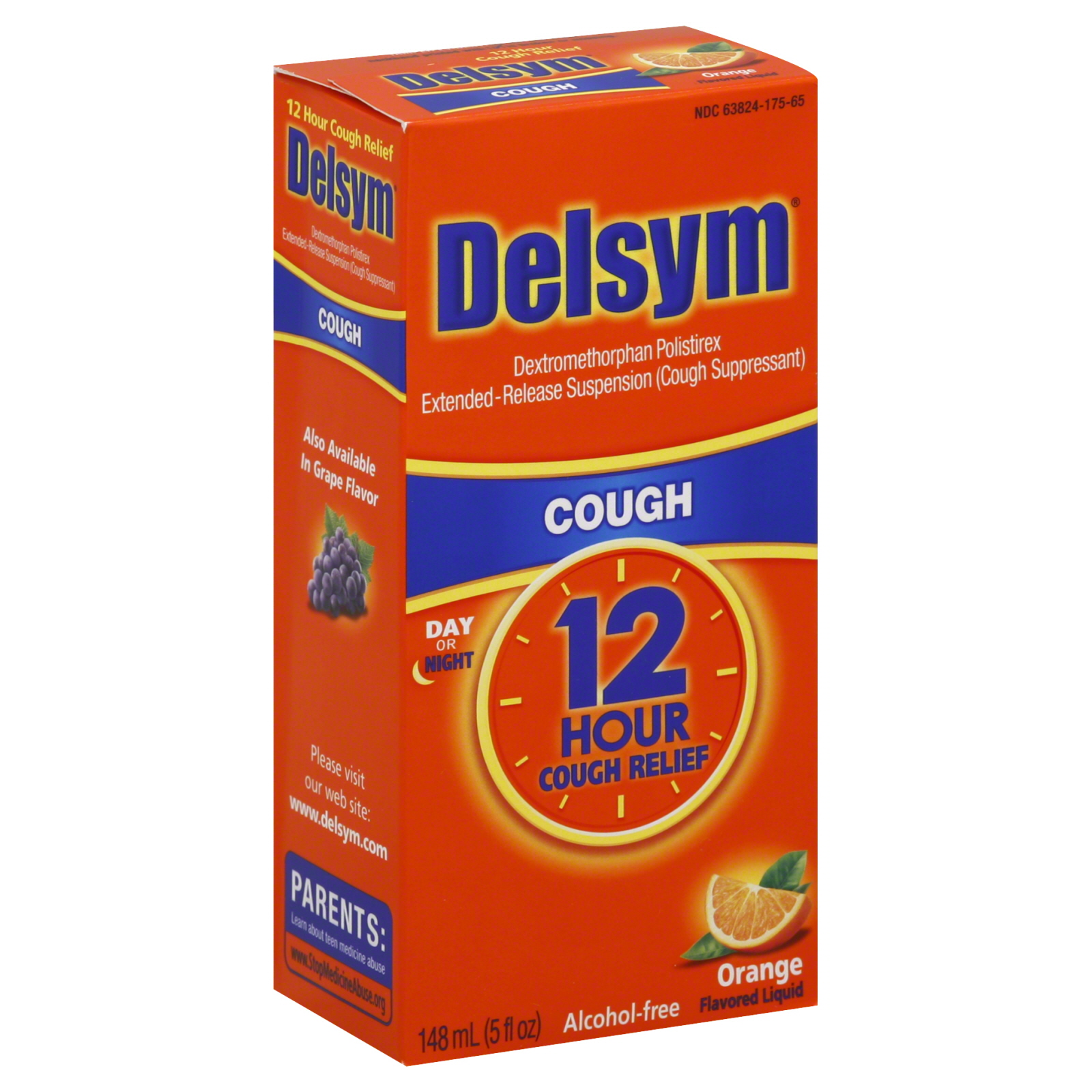 Delsym  Cough, Orange Flavored Liquid, 5