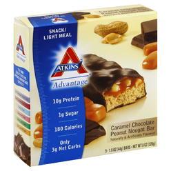 Atkins Advantage Snack/Light Meal Bar, Caramel Chocolate Peanut Nougat, 5 - 1.6 oz (44 g) bars [8 oz (220 g)] ... at Kmart.com