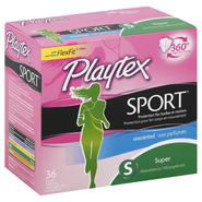 Playtex Sport Tampons, Plastic, Super Absorbency, Unscented, 36 tampons at Kmart.com