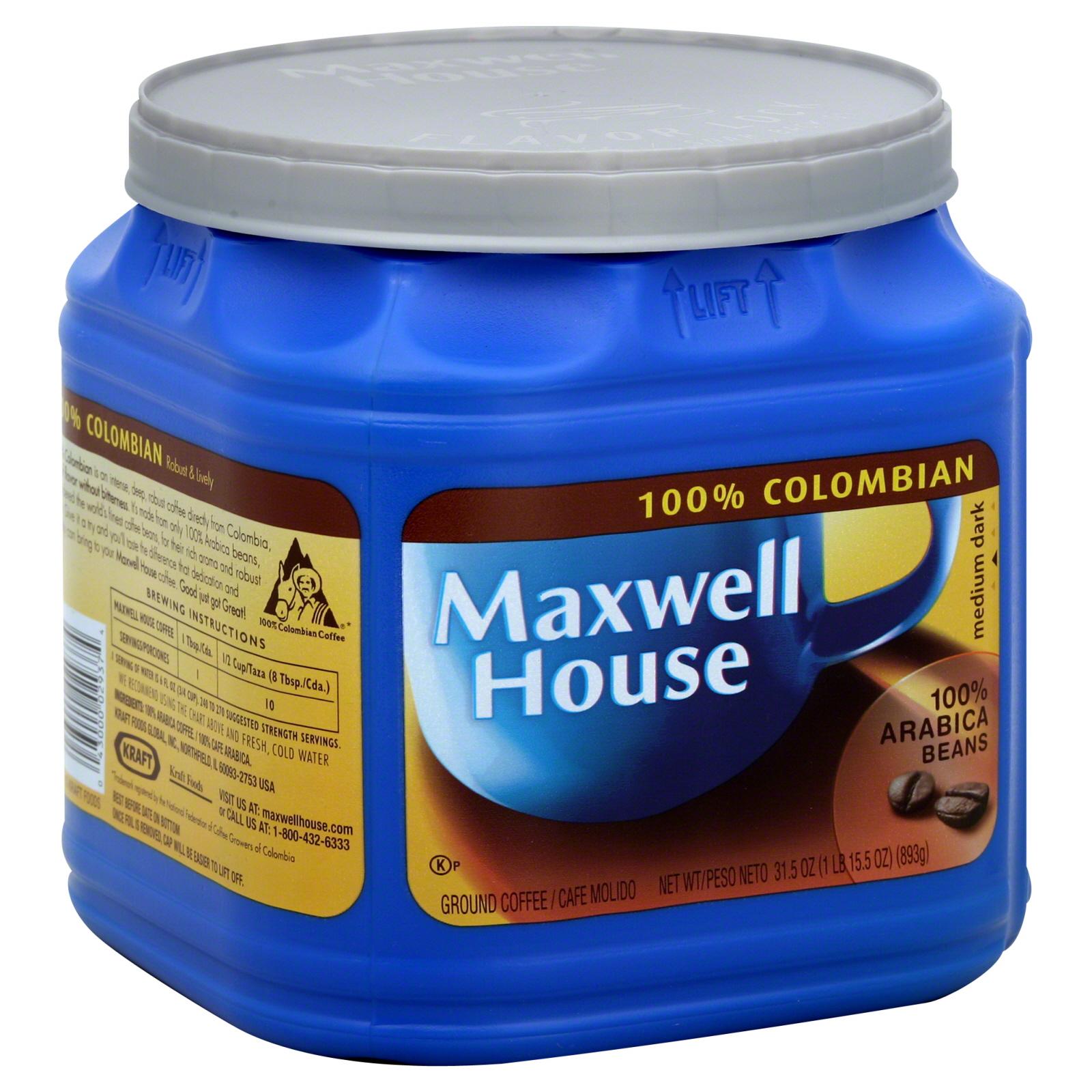 Maxwell House Coffee, Ground, 100% Colombian, Medium Dark, 31.5 oz (1 lb 15.5 oz) 893 g PartNumber: 033W044643811812P KsnValue: 44643811 MfgPartNumber: 75104