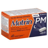 Motrin PM Pain Reliever (NSAID)/Nighttime Sleep-Aid, Coated Caplets, 40 caplets at Kmart.com