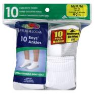 Fruit of the Loom Socks, Boy's, Ankle, Medium, 10 pairs at Kmart.com