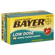 Bayer Aspirin Regimen, Low Dose, 81 mg, Enteric Coated Tablets, 200 tablets at Kmart.com