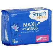 Smart Sense Maxi Pads, with Wings, Long, Super, Unscented, 16 pads at Kmart.com