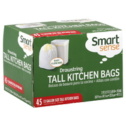 Smart Sense Tall Kitchen Bags, Drawstring, 13 Gallon Size, 45 bags at Kmart.com