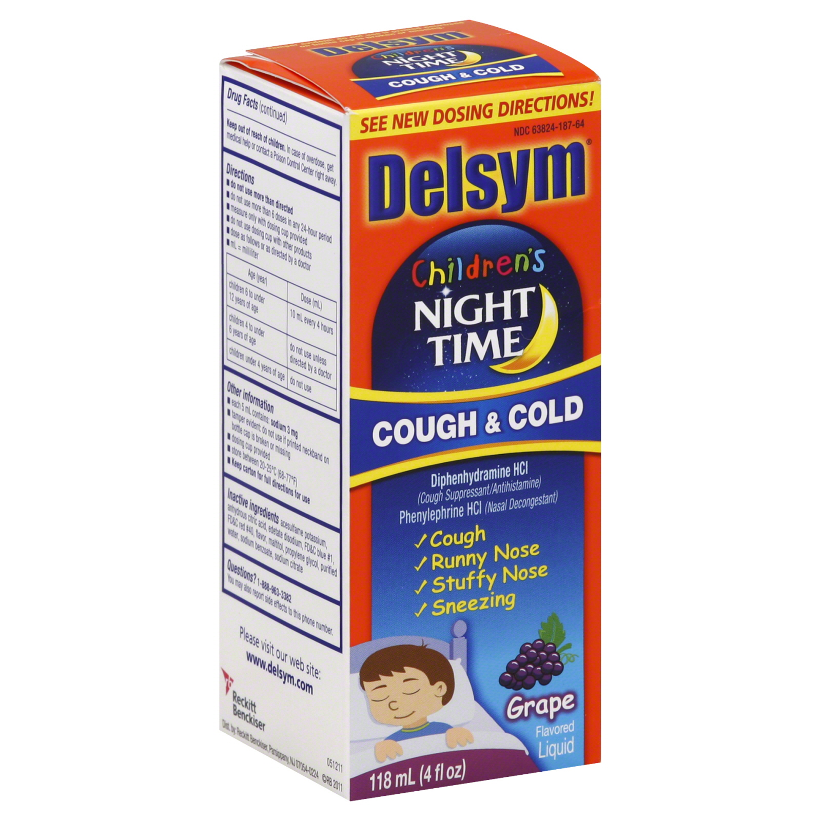 Buy baby cough cold - Delsym Children\'s Cough & Cold, Night Time, Grape Flavored Liquid, 4