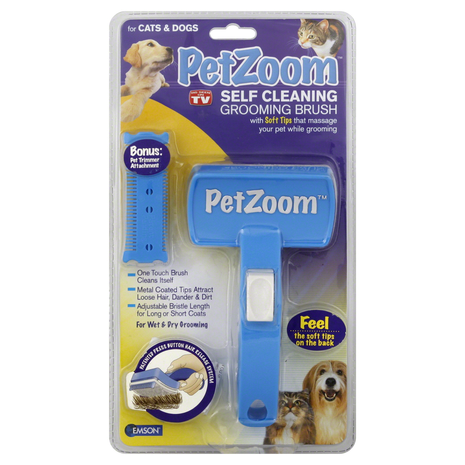 Pet Zoom  Grooming Brush, Self Cleaning,