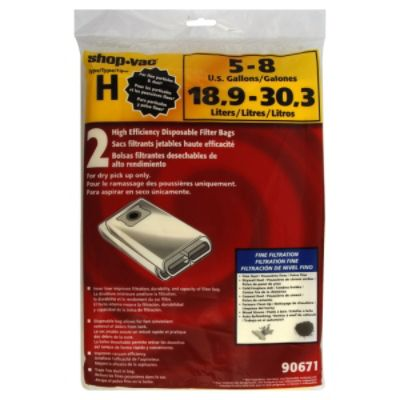 Shopvac  Filter Bags, Disposable, High Efficiency, Type H, 2 bags