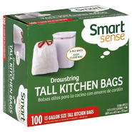 Smart Sense Tall Kitchen Bags, Drawstring, 3-Ply, 100 bags at Kmart.com