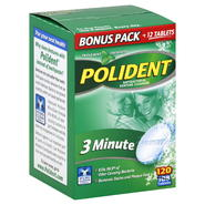 Polident Denture Cleanser, Antibacterial, 3 Minute, Tablets, Triple Mint Freshness, 120 tablets at Kmart.com