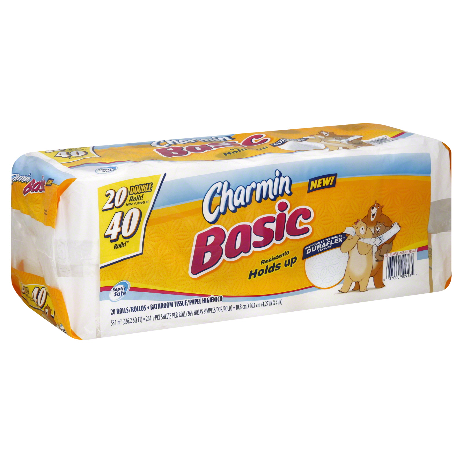 Basic Bathroom Tissue, Double Rolls, Unscented, 1-Ply, 20 rolls                                                                  at mygofer.com