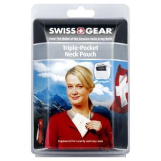 Swiss Gear Neck Pouch, Triple-Pocket, Light Grey, 1 pouch