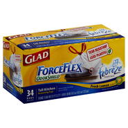 Glad Force Flex Odor Shield Tall Kitchen Bags, Drawstring, 13 Gal, Fresh Lemon Scent, 34 bags at Kmart.com