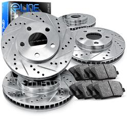 Eline 2013 toyota sienna l 3 5l front and rear drilled slotted brake rotors ceramic