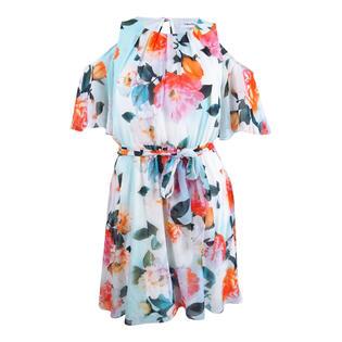 Calvin Klein Women s Cold Shoulder Floral-Print A-Line Dress (12 069b946d4d