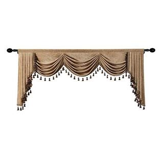 Elkca Double Sided Chenille Waterfall, Living Room Valances