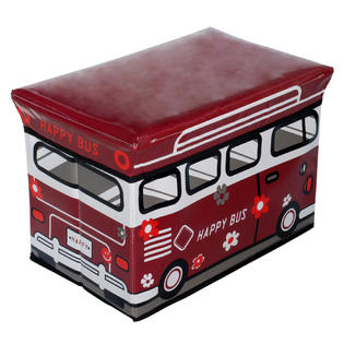 Blancho Bedding [Happy Bus - Red] Rectangle Foldable Faux Leather Storage Ottoman / Storage Boxes / Storage Seat (3PC) at Sears.com