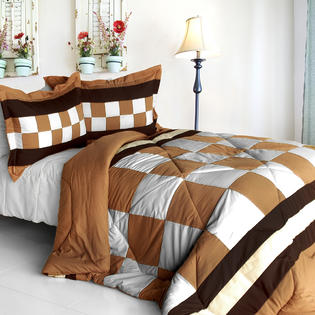 Blancho Bedding [Happy Song] Quilted Patchwork Down Alternative Comforter Set (King Size)