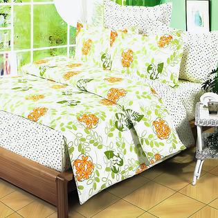 Blancho Bedding [Summer Leaf] 100% Cotton 5PC Comforter Set (King Size)