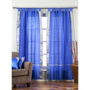Indian Selections Enchanting Blue  Tab Top  Sheer Sari Curtain / Drape / Panel  - Piece at Sears.com