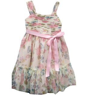 Bonnie Jean Girls Easter Dress  - Soft Pink Floral Shirred Dress - Size 4 - 12 at Sears.com