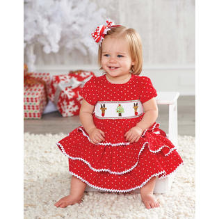 Mud Pie Holiday Dress: Red Girls Infant or Toddler Corduroy Smocked Chistmas Dress 0-6 months at Sears.com