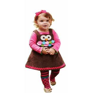Mud Pie Baby Girls Exclusive 3-Piece Owl Jumper Dress with Tights and Turtleneck  6 / 9 month with 12 month tneck at Sears.com