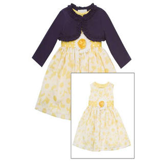 Rare Editions Girls Easter Dress Yellow White Floral Woven Dress with Navy Cardigan 6 at Sears.com