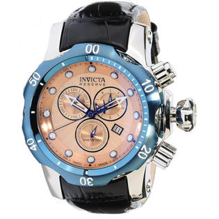 Invicta 10824 Stainless Steel Reserve Venom Quartz Chronograph Diver Rose Gold Dial Leather Strap at Sears.com