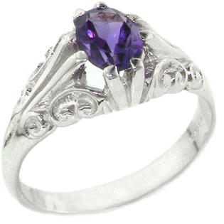 The Great British Jeweler Heavy Weight Solid Sterling Silver Large 8x6mm Natural Amethyst Antique Style Ring - Finger Sizes 5 ...