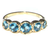 The Great British Jeweler Solid 18K Yellow Gold Vibrant Blue Natural Topaz Eternity Band Ring - Finger Sizes 4 to 12 Available at Sears.com