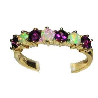 LetsBuyGold 14K Yellow Gold Ladies Colorful Fiery Opal & Amethyst Anniversary Eternity Ring