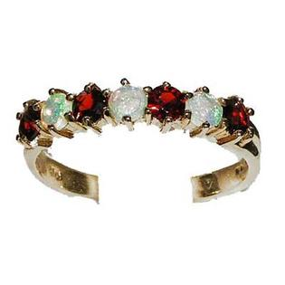 The Great British Jeweler 14K Yellow Gold Ladies Colorful Fiery Opal & Garnet Anniversary Eternity Ring - Finger Sizes 5 ...