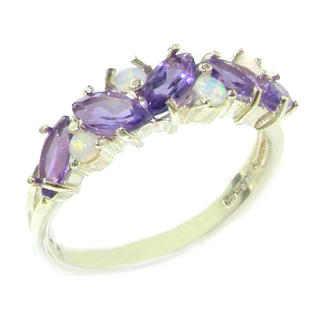 The Great British Jeweler Unusual Solid Sterling Silver Natural Fiery Opal & Amethyst Eternity Band Ring - Finger Sizes 5 to 12 Available