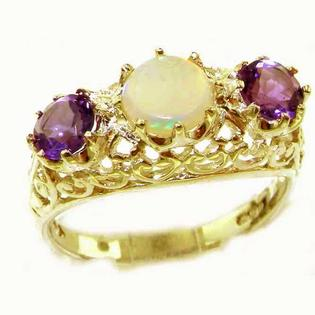 The Great British Jeweler High Quality Solid Yellow 9K Gold Large Fiery Opal & Amethyst English Filigree Trilogy Ring - Finger Sizes 5 to ...