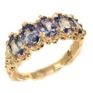 The Great British Jeweler Victorian Design Solid English Rose 9K Gold Natural Tanzanite Band Ring - Finger Sizes 5 to 12 Available