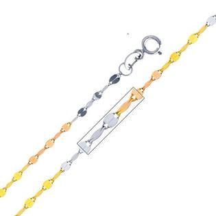 "GoldenMine 14K 3 Tri-Color Gold 1.7mm Twisted Mirror Chain Necklace with Spring Ring Clasp - 18"" Inches at Sears.com"