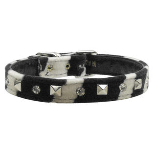 Mirage Pet Supplies Animal Print Crystal and Pyramid Collar Zebra 12 at Sears.com