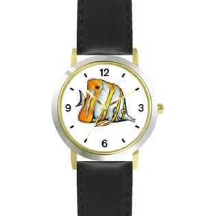 WatchBuddy Striped White & Yellow Angel Fish Animal - WATCHBUDDY DLX 2-TONE THEME WATCH - Black Strap-Kid's Size at Sears.com